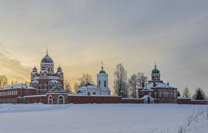 Картинка Зимние Монастырь Россия Снег Музей Borodino Города