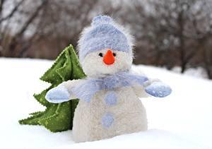 Обои Зимние Снеге Снеговики В шапке Шарфом