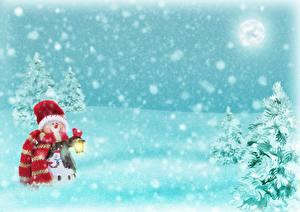 Фотографии Зима Шаблон поздравительной открытки Снеговики Шапки Шарф