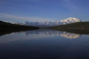 Картинка Аляска США Горы Леса Речка Снег Отражение Denali National Park , mount Denali