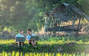 Обои Азиатка Двое Мальчик Смех Сидя Трава Ноутбуки Дети