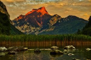Обои Австрия Озеро Камень Горы Пейзаж Утес Leopold Steinersee, Styria