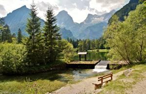 Картинки Австрия Гора Альп Дерево Скамейка Schiederweiher, Hinterstoder Природа