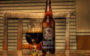 Фото Пиво Бутылки Бокалы Еда