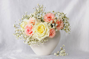 Картинки Букет Роза Вазе Цветы
