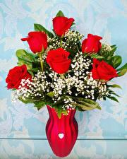 Картинки Букет Розы Ваза Красный Цветы