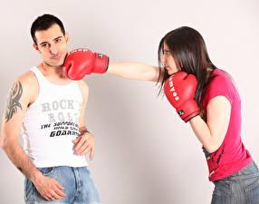 Обои Бокс Мужчины Удар Перчатках Майка Татуировка 2 молодая женщина