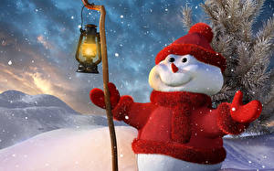 Фотография Ветки Снеговики Посохи Лампа Шапки Шарф Улыбается 3D Графика