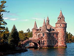Фотография Мосты Замки США Деревья Boldt Castle, HART Island, state of new York