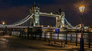 Картинки Мост Англия Лондон Ночные Уличные фонари Города