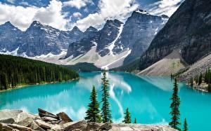 Фотографии Канада Горы Камни Леса Озеро Парки Пейзаж Банф Moraine Lake, Alberta Природа