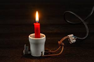 Фотографии Свечи Пламя Креатив Электрический провод