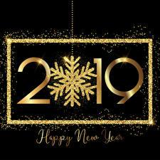 Фото Новый год 2019 Золотой Черный фон Снежинки Английский