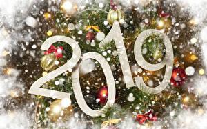 Фото Новый год 2019 Снег Ветвь Шарики