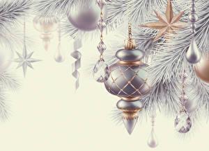 Картинки Рождество Шарики Серебряная 3D Графика