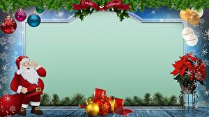 Картинка Рождество Шарики Снежинки Санта-Клаус Шаблон поздравительной открытки