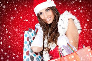 Картинки Новый год Шатенка Взгляд Снег Девушки