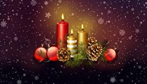 Картинка Рождество Свечи Шар Шишки