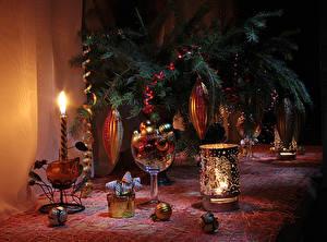 Картинка Рождество Свечи Ветвь Шар