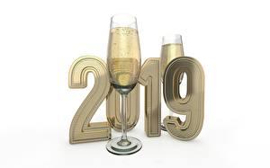Картинка Новый год Игристое вино 2019 Белый фон