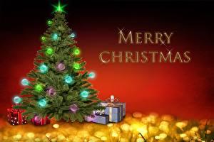 Фотография Рождество Новогодняя ёлка Шар Подарки Английский