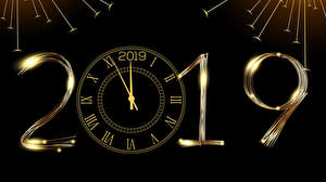 Обои Рождество Часы Черный фон 2019