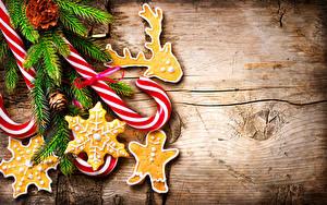 Фото Новый год Печенье Леденцы Доски Ветвь Дизайн Еда
