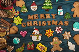 Картинки Рождество Печенье Доски Английский Шишки Дизайн Снеговики Снежинки Пища