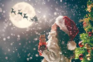 Фото Новый год Олени Елка Шарики Девочки Луна Шапки Дети