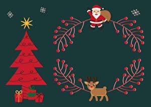 Картинка Рождество Олени Цветной фон Новогодняя ёлка Санта-Клаус