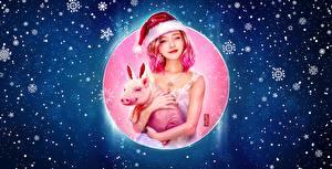 Картинки Новый год Домашняя свинья Шапки Снежинки Девушки