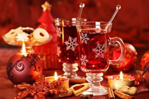 Обои Рождество Напитки Свечи Печенье Корица Чашка Снежинки Еда