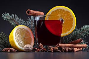 Фотография Новый год Напитки Лимоны Корица Стакан