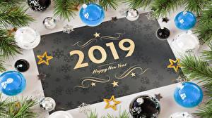 Картинка Новый год Английская 2019 Шарики Ветки Звездочки Снежинки 3D Графика
