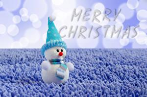 Картинки Рождество Инглийские Снеговик В шапке Шарфом