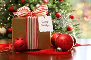 Фото Рождество Подарки Бантик Шар Английский