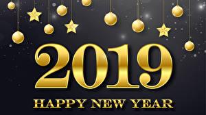 Фото Новый год Серый фон 2019 Шарики Звездочки Английская