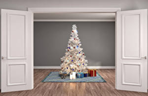 Картинки Рождество Интерьер Свечи Дверь Новогодняя ёлка Подарок 3D Графика