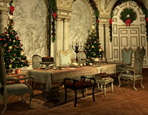 Картинка Рождество Интерьер Елка Стол Стулья Дизайн 3D Графика