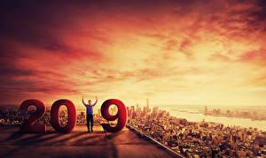 Фотографии Новый год Мужчина Рассветы и закаты 2019 Города