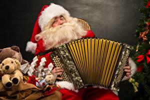 Фотографии Рождество Музыкальные инструменты Дед Мороз