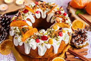Картинки Новый год Выпечка Корица Сахарная глазурь Дизайн Продукты питания