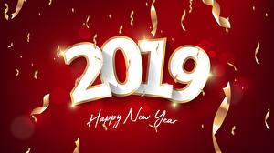 Фотографии Новый год Красный фон 2019 Английский