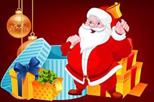 Обои Рождество Санта-Клаус Борода Шар Подарков Бантик Колокольчик