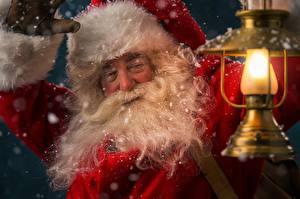 Картинка Новый год Дед Мороз Борода Фонарь