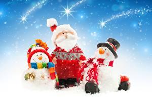 Фото Новый год Снеговика Трое 3 Санта-Клаус Шапка Бородатый Шляпы Шарфом