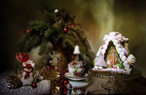Фото Рождество Натюрморт Выпечка Здания Печенье Ветвь Шар Дизайн Чашка Шишки Снеговики Пища
