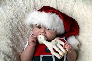 Фотография Новый год Игрушки Олени Грудной ребёнок Шапки Ребёнок