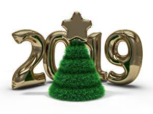 Картинки Новый год Белый фон 2019 Елка Звездочки