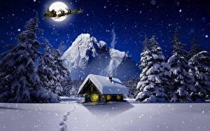 Обои Новый год Зимние Здания Олени В ночи Снега Луны Сани